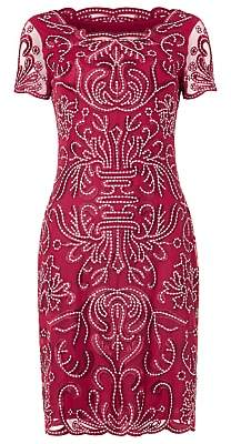 Phase Eight Talia Embroidered Dress, Cranberry