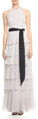 Halston Tiered Printed Sash-Detail Gown