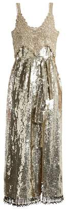 Elan Sequin And Bead Embellished Silk Dress - Womens - Silver
