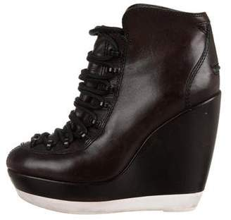 Kenzo Leather Wedge Ankle Boots