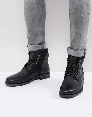 Levi's Levis emmerson leather boots with denim detail in black