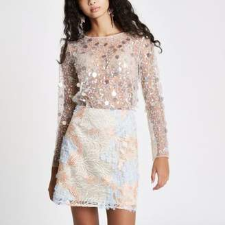 River Island Womens Cream sequin embellished mesh top