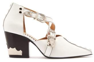 Toga - Buckle Strap Leather Ankle Boots - Womens - White