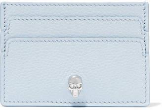 Alexander McQueen Embellished Textured-leather Cardholder - Sky blue