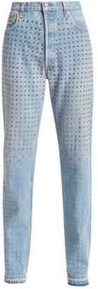 Frankie B. Multi-Rhinestone Fray-Hem Jeans