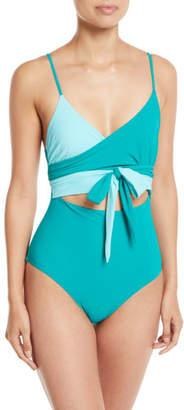 Diane von Furstenberg Von Wrap-Front Cutout One-Piece Swimsuit