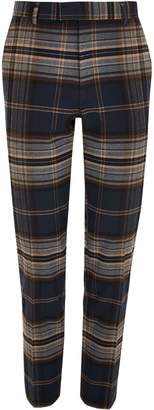 Mens River Island Navy Check Trouser