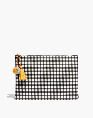 Madewell Large Tassel Zip Pouch in Gingham