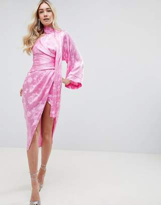 Asos DESIGN kimono sleeve sash midi dress in soft jacquard