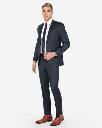 Express Slim Windowpane Plaid Wool-Blend Suit Pant