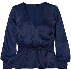 Rachel Zoe Noel Wrap-effect Satin Peplum Top