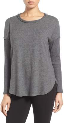 Bobeau Rib Long Sleeve Fuzzy Top