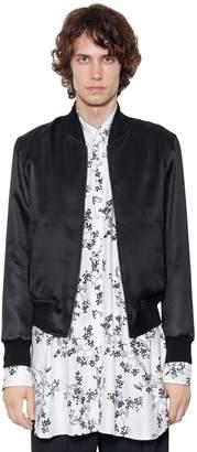 Ann Demeulemeester Reversible Satin & Linen Bomber Jacket