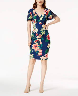 Sangria Floral Print Angel-Sleeve Sheath Dress