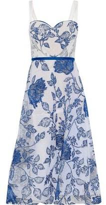 Marchesa Embroidered Point D'esprit Midi Dress
