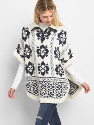 Gap Half-Zip Fluffy Knit Poncho in Print