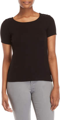 Catherine Malandrino Black Laced Ribbed Top