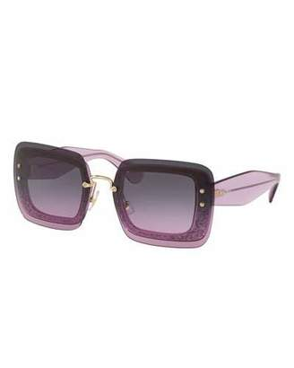 Miu Miu Rectangle Glitter-Illusion Frame Chunky-Arm Sunglasses