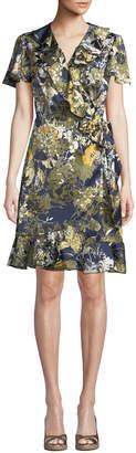 Tahari ASL Moby Floral-Print Ruffled Wrap Dress