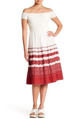 Max Studio Off-the-Shoulder Gauze Midi Dress