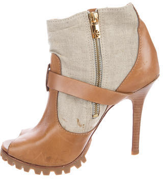 Tory BurchTory Burch Leather Peep-Toe Ankle Boots