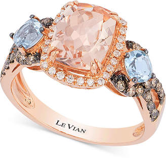 Le Vian Chocolatier® Peach Morganite® (1-1/2 ct. t.w.), Aquamarine (1/2 ct. t.w.) and Diamond (1/3 ct. t.w.) Ring in 14k Rose Gold $3,200 thestylecure.com