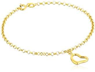 14k Yellow Heart Dangle Charm Bracelet