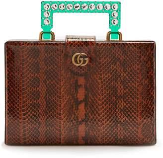 Gucci Broadway embellished perspex-handle snakeskin bag