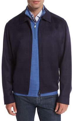 Brioni Wool-Blend Plaid Blouson Jacket, Navy