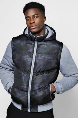 boohoo Camo Puffer Jacket With Jersey Sleeves