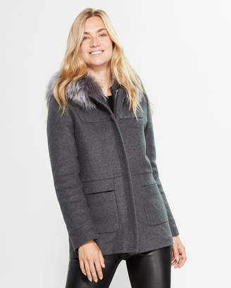 Intuition Paris Real Fur-Trimmed Hooded Wool-Blend Duffle Coat
