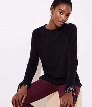 LOFT Plaid Tie Cuff Mixed Media Sweater