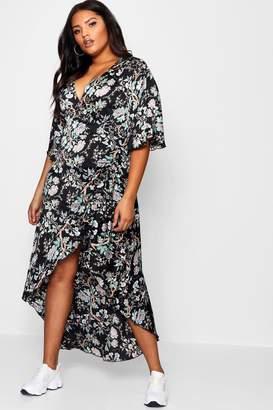 boohoo Plus Angel Sleeve Wrap Ruched Maxi Dress