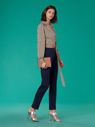 Diane von Furstenberg Mid-Rise Skinny Linen Pants