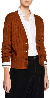 Brunello Cucinelli Cable-Knit Sequined Crop Button-Front Cardigan