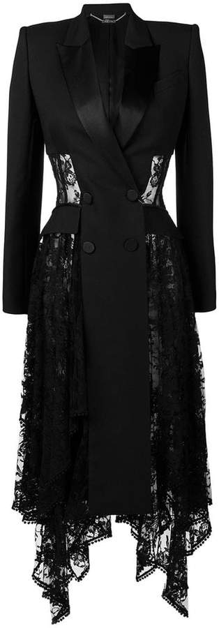 lace drape double-breasted coat