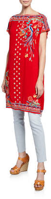Johnny Was Dahlia Embroidered Short-Sleeve Long Tunic