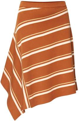 Paisie Striped Asymmetric Skirt With Side Drape In Brown Gold & White