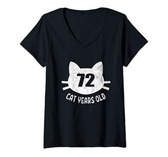 Womens 72 Cat Years Old Apparel 14th Birthday Gift For Cat Lovers V-Neck T-Shirt