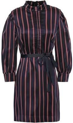 Sandro Respect Belted Striped Satin-twill Mini Dress