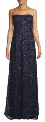 Adrianna Papell Embellished Strapless Floor-Length Gown