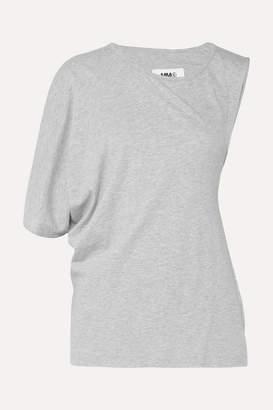 MM6 MAISON MARGIELA Asymmetric Twist-back Cotton-jersey T-shirt - Gray