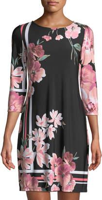 Neiman Marcus 3/4-Sleeve Floral-Print Shift Dress