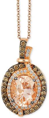LeVian Le Vian Chocolatier Vanilla Diamonds (1/8 c.t. t.w.), Chocolate Diamonds (1/3 c.t. t.w.) and Peach Morganite (1-1/4 ct t.w.) Pendant in 14k Strawberry Rose Gold, Created for Macy's