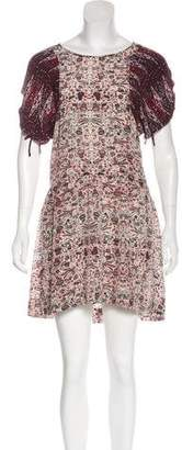 Etoile Isabel Marant Silk Abstract Print Mini Dress