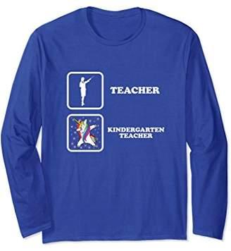 Kindergarten Teacher Unicorn Dabbing Long Sleeve