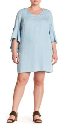 Sharagano Cascading Bell Sleeve Dress (Plus Size)