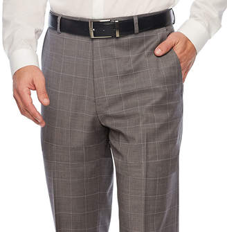 STAFFORD Stafford Gray Windowpane Classic Fit Suit Pants