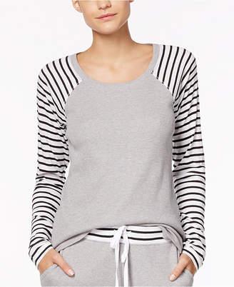 Alfani Striped-Sleeve Thermal Pajama Top