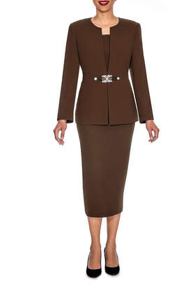 GIOVANNA SIGNATURE Giovanna Signature Women's Rhinestone Brooch 3-piece Skirt Suit- Plus